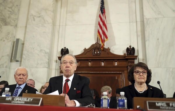 Sen. Diane Feinstein, right, urges fellow senators to carefully weigh Sen. Jeff Sessions' record. (Andrew Harnik, Associated Press)