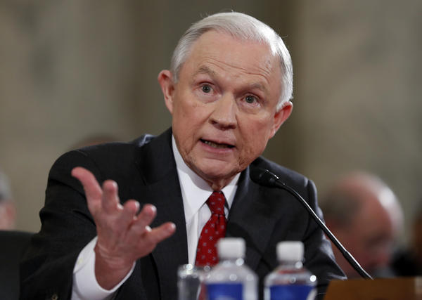 Atty. Gen.-designate Jeff Sessions testifies on Capitol Hill in Washington on Jan. 10, 2017, at his confirmation hearing before the Senate Judiciary Committee. (Alex Brandon / Associated Press)