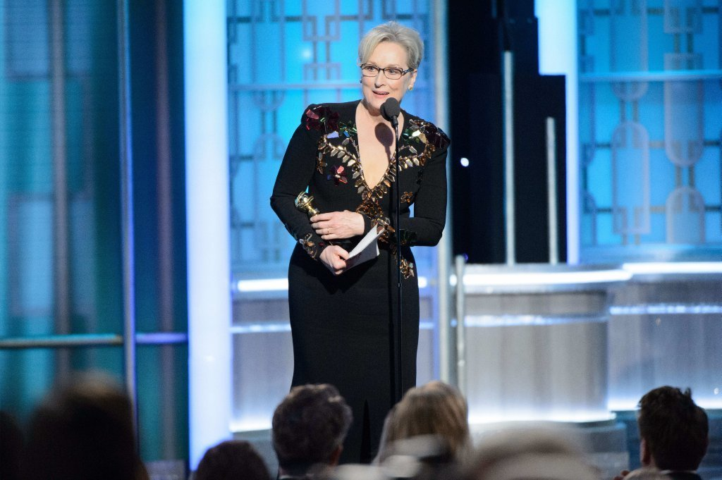 Meryl Streep accepts the Lifetime Achievement Award at the 74th Golden Globe Awards. (HFPA / Zuma Press)