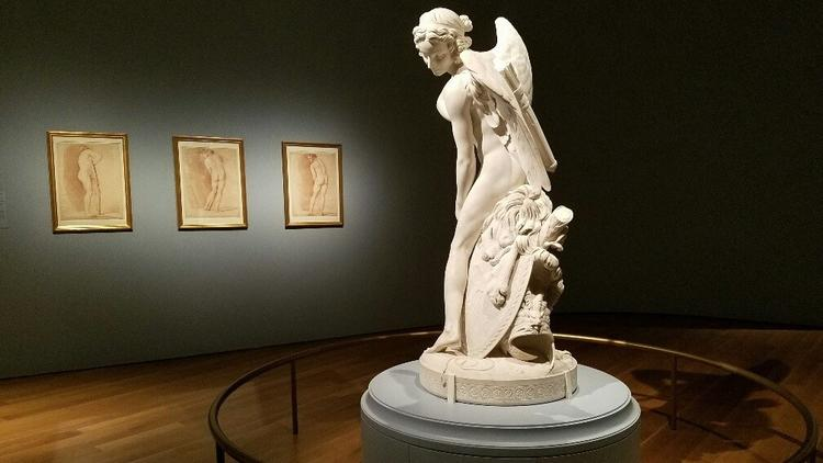"Edmé Bouchardon's ""Cupid Carving a Bow From Hercules' Club,"" 1745-50, at the Getty Museum."