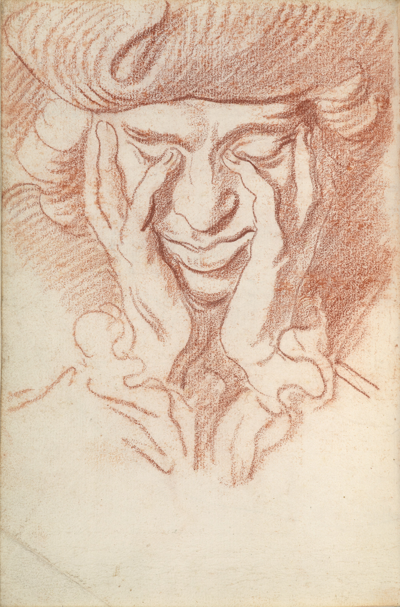 "Edme Bouchardon, ""Self-Portrait,"" about 1730, red chalk."