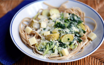 Buckwheat pasta with kale, potatoes and cabbage (pizzoccheri)