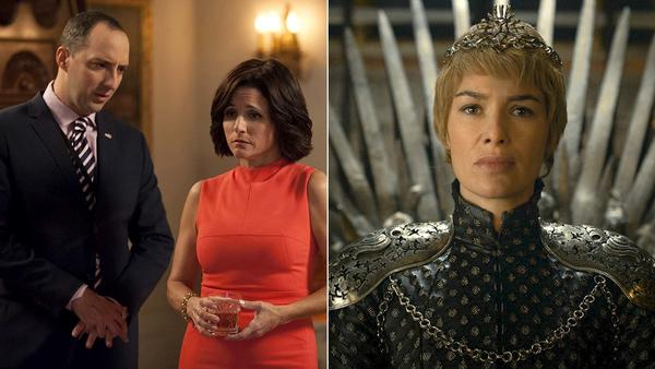 "Tony Hale, left, and Julia Louis-Dreyfus star in a scene from ""Veep,"" while and Lena Headey, right, appears in ""Game of Thrones."" (HBO)"