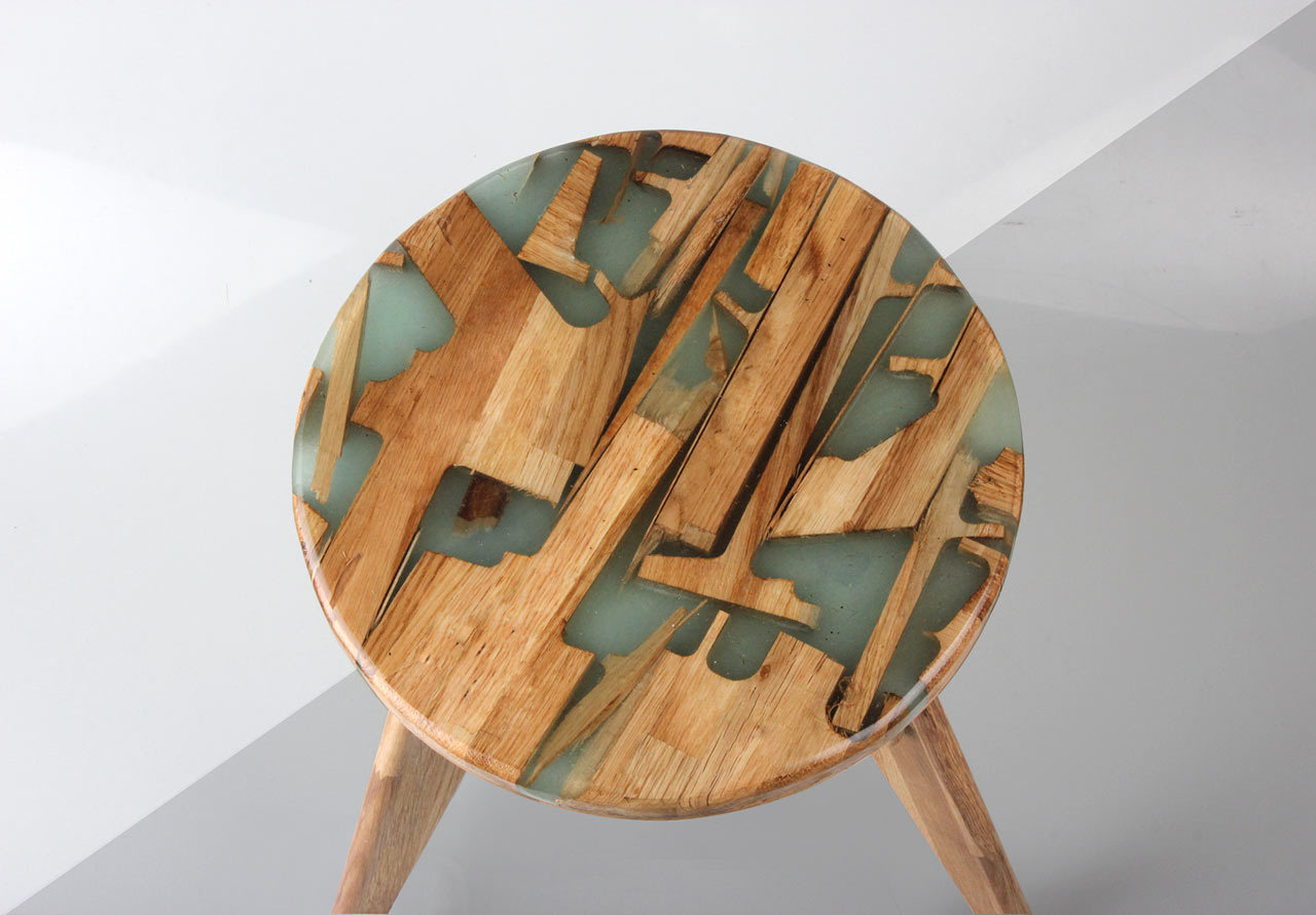 Unexpectedly Beautiful Stool Made Of Wooden Offcuts And