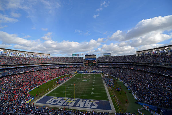 The Chargers play their final game at Qualcomm Stadium, against the Kansas City Chiefs, on Jan. 1. (Donald Miralle / Getty Images)