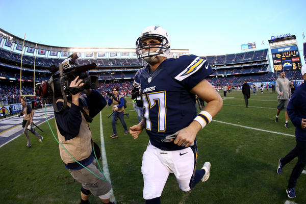 Philip Rivers leaves the field Jan. 1 after the Chargers' final game at Qualcomm Stadium. (Sean M. Haffey / Getty Images)