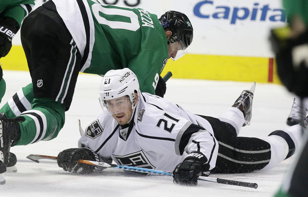 Nick Shore hits the ice during a game against Dallas in December (LM Otero / Associated Press)