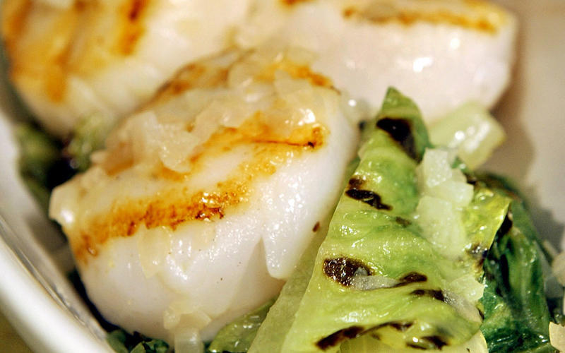Grilled scallops with braised romaine