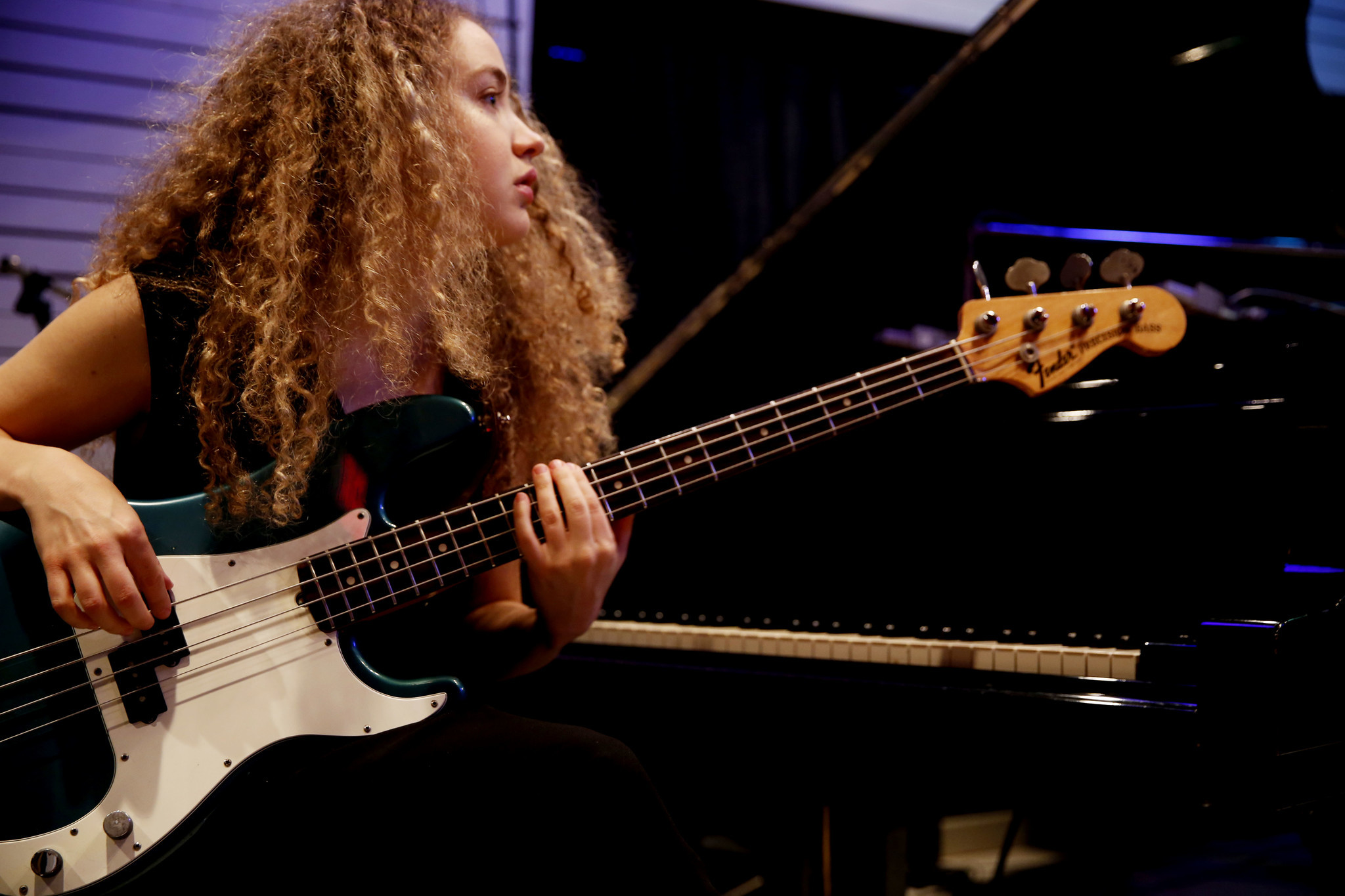 Australian bass guitarist Tal Wilkenfeld works on music in Studio A at Village Studios on December 8, 2016.