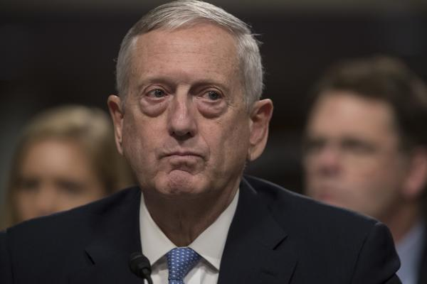 James N. Mattis testifying at his confirmation hearing for Defense secretary. (J. Scott Applewhite / Associated Press)