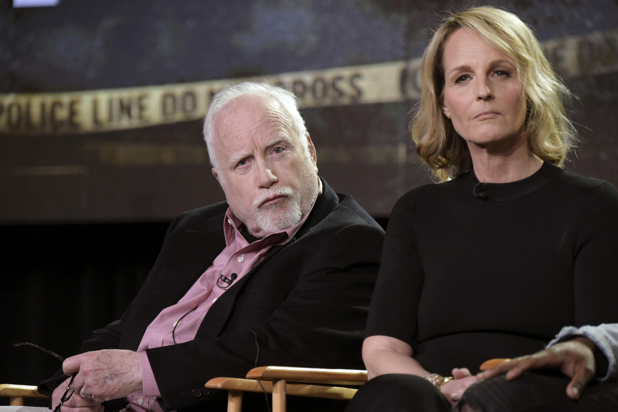 "Richard Dreyfuss and Helen Hunt attend the ""Shots Fired"" panel at the Fox portion of the 2017 Winter TCA press tour on Jan. 11. (Richard Shotwell / Invision / AP)"