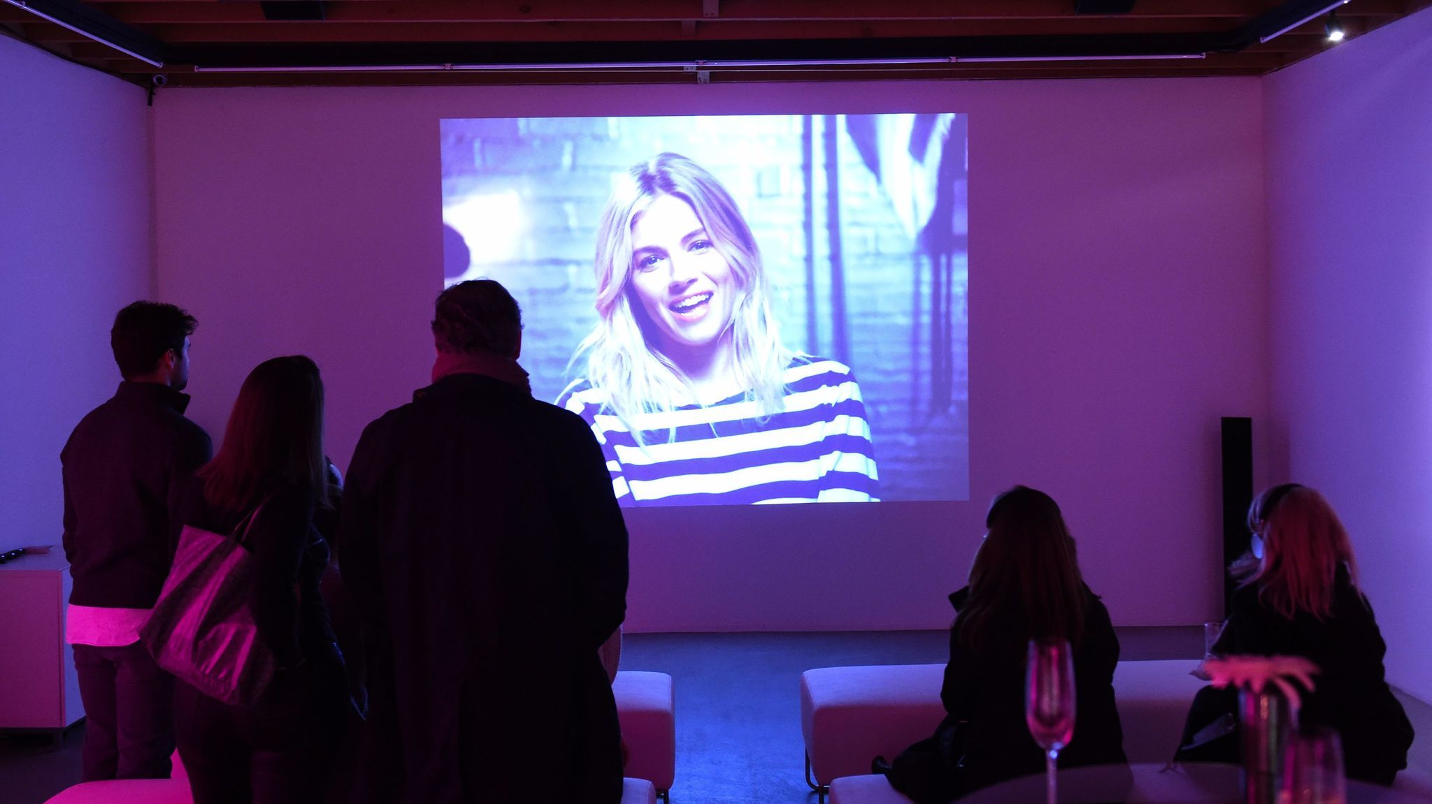Sienna Miller appears in Chiara Clemente's video, photographed here during the preview party last week.