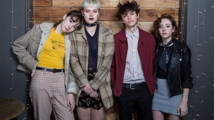 The Regrettes, from left: Lydia Night, Sage Chavis, Maxx Morando and Genessa Gariano. (Brian van der Brug / Los Angeles Times)