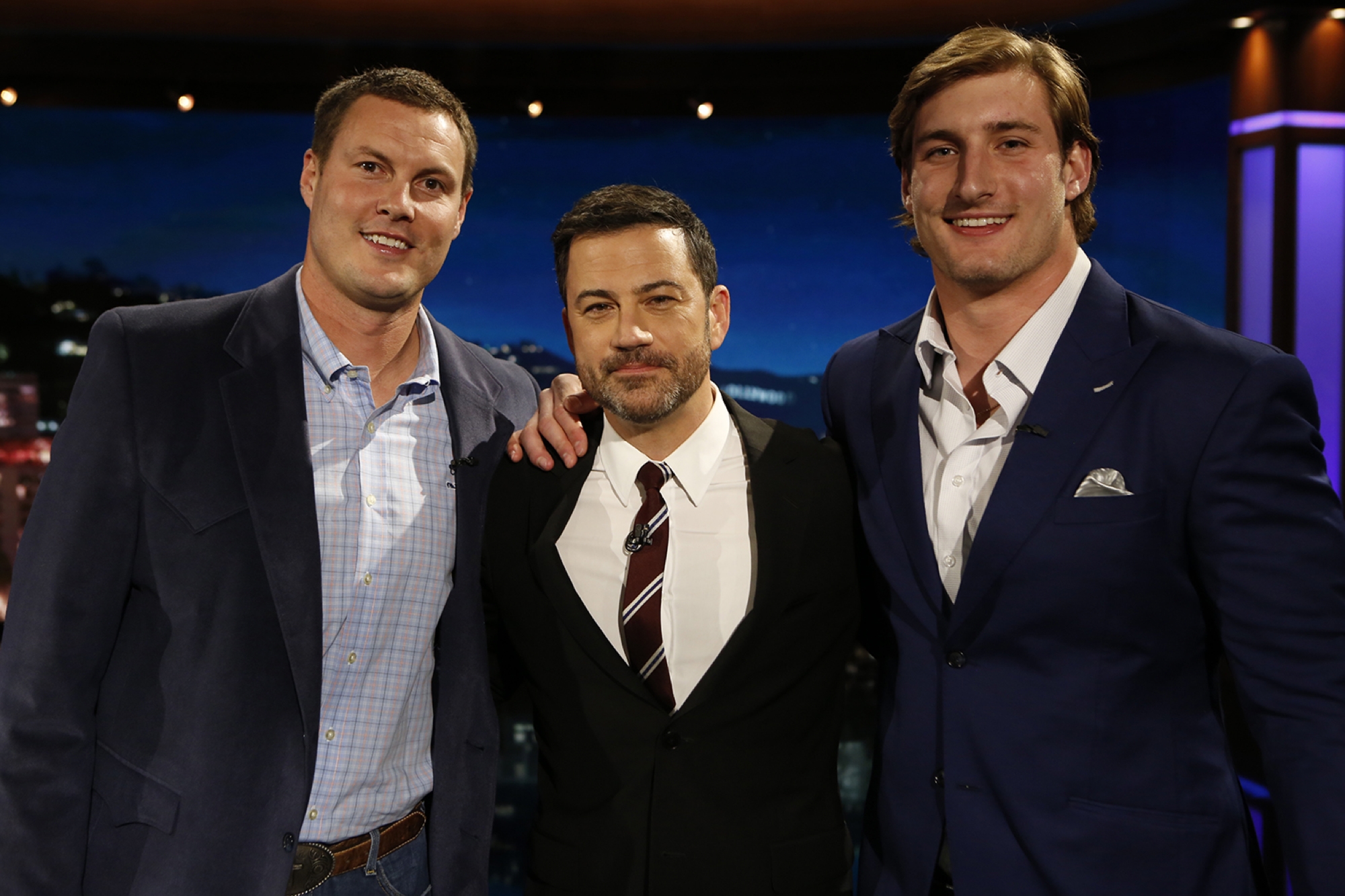 Joey Bosa rewarded appears on Kimmel with Rivers The San