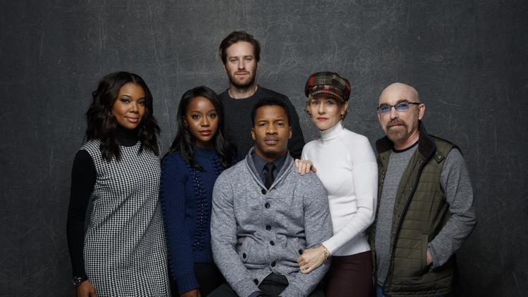 "PARK CITY, UTAH -- MONDAY, JANUARY 25, 2016: Gabrielle Union, from left, Aja Naomi King, Armie Hammer, Nate Parker, director, Penelope Ann Miller and Jackie Earle Haley, from the film, ""The Birth of A Nation, "" in the L.A. Times photo & video studio at the Sundance Film Festival."