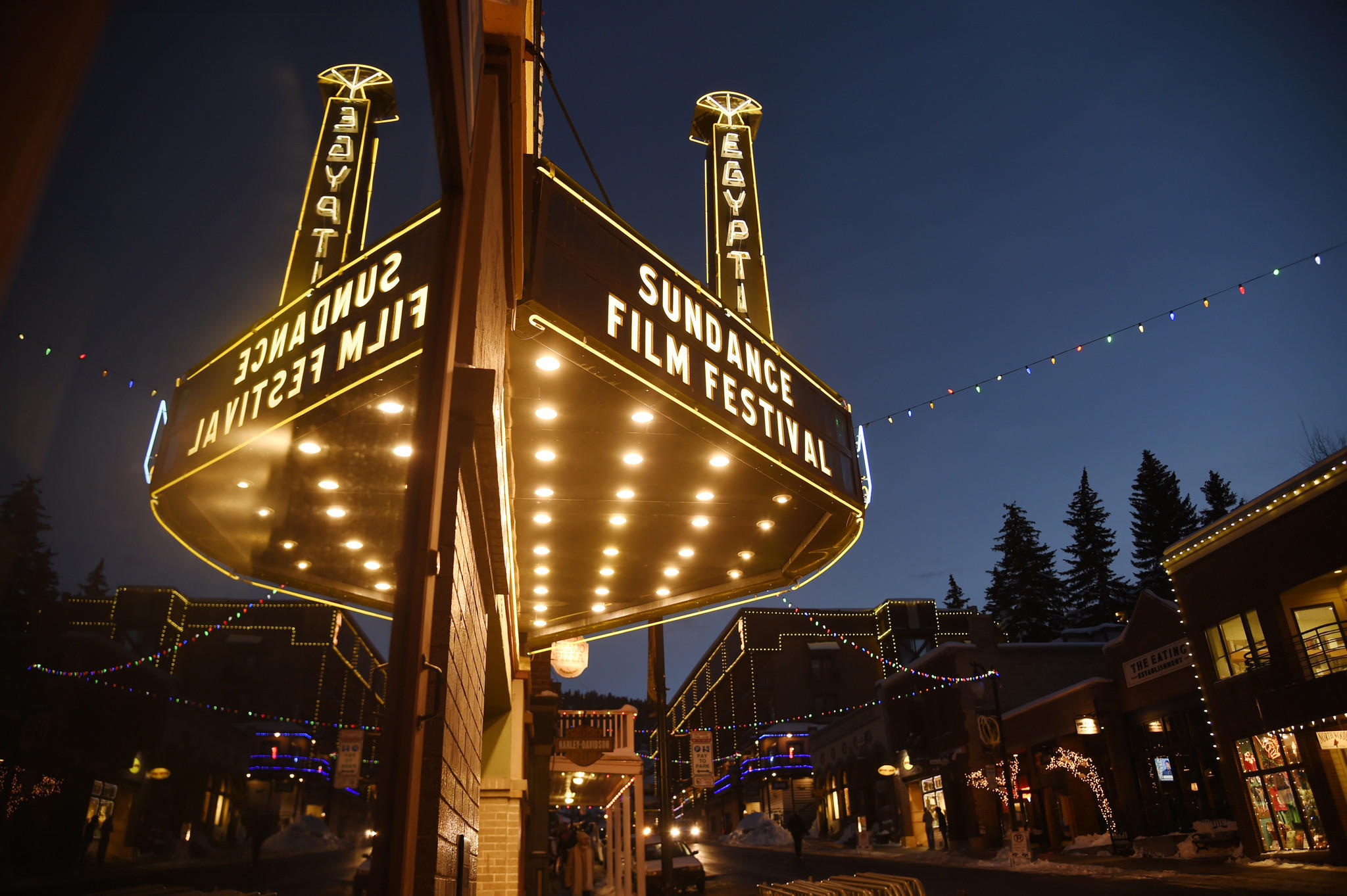 The Egyptian Theatre is lit up on the eve of the 2017 Sundance Film Festival on Wednesday, in Park City, Utah. (Chris Pizzello / Invision / AP)