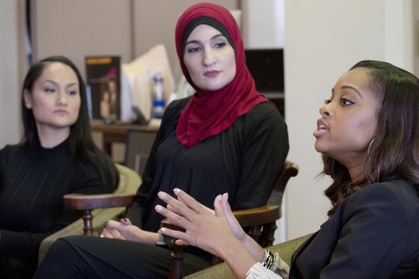 Tamika Mallory, right, co-chair of the Women's March on Washington, with fellow co-chairs Carmen Perez, left, and Linda Sarsour, Jan. 9, 2017 in New York. (Mark Lennihan / AP)