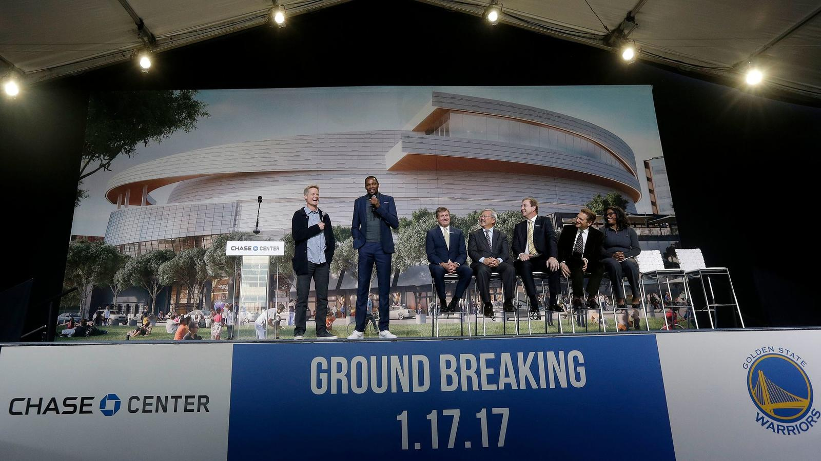 Golden State Warriors head coach Steve Kerr, left, and forward Kevin Durant, second from left, speak during a groundbreaking ceremony for the Chase Center in San Francisco on Jan. 17.