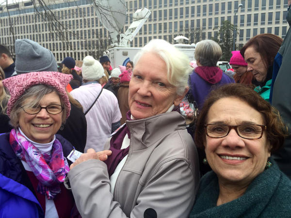 Anne Fairbanks, 70, left, Nancy Palumbo, 77, center, and Nan Purdue, 74, took a midnight bus from Auburn, N.Y., to participate in the Women's March on Washington. (Seema Mehta / Los Angeles Times)