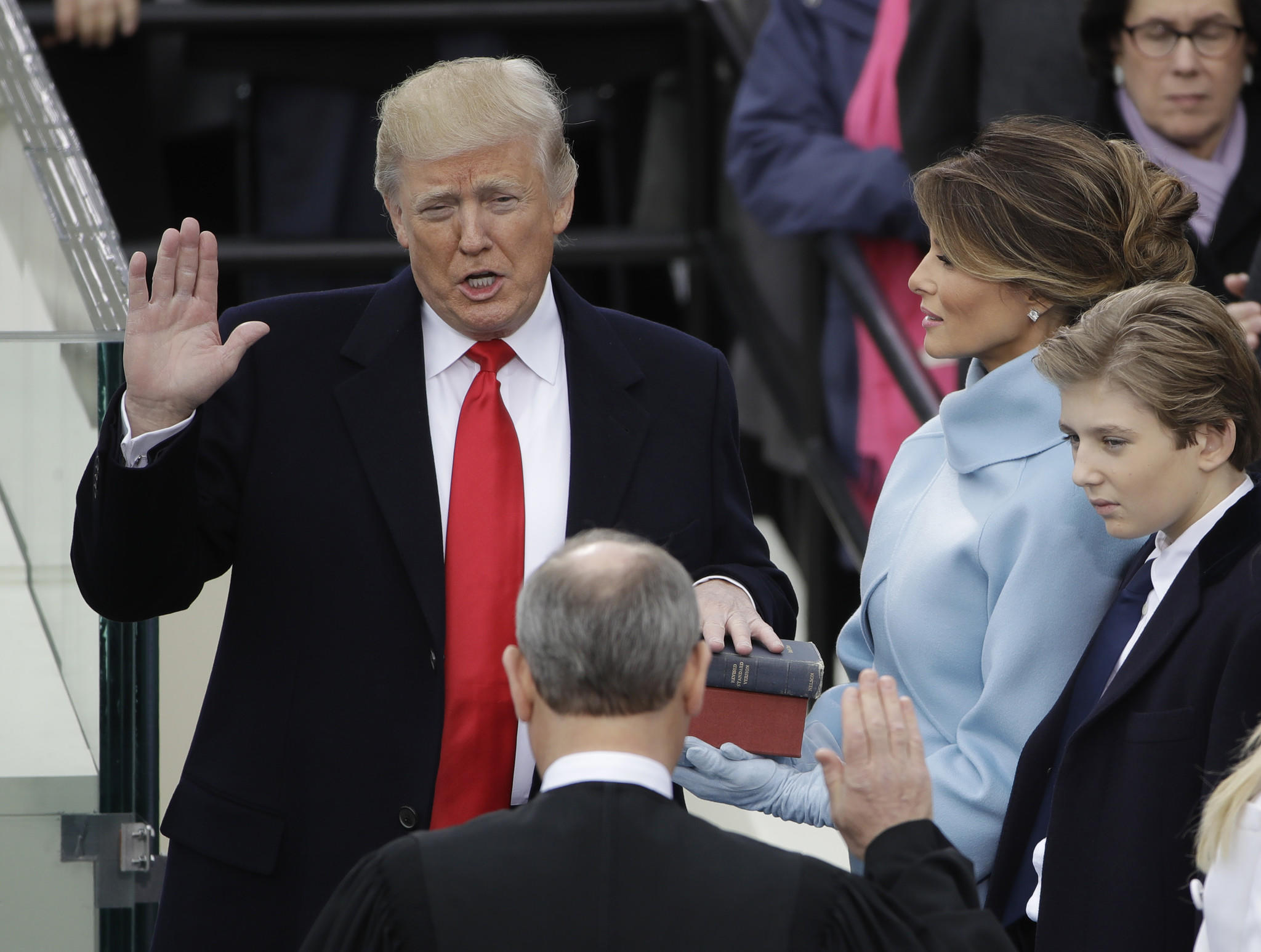 Donald Trump is sworn in as the 45th president of the United States by Chief Justice John G. Roberts Jr.