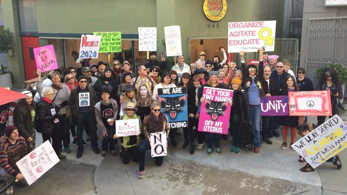 Artists and art workers gather in front of the Good Luck Gallery in Chinatown prior to attending the women's march in downtown L.A. (Carolina A. Miranda)