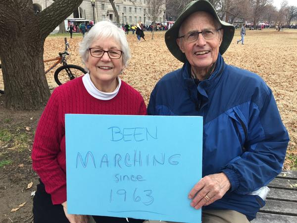 Mary Helen and Bob Harris say the Women's March on Washington won't be their last. (Steve Lopez / Los Angeles Times)