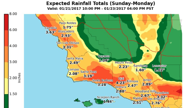 Rainfall totals for Sunday and Monday