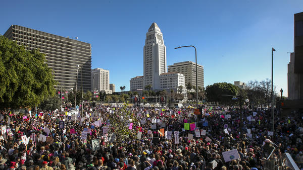 "Saturday's Women's March Los Angeles, with an unobstructed, ""radical flat"" view of the crowd filling Grand Park and surrounding streets. (Irfan Khan / Los Angeles Times)"