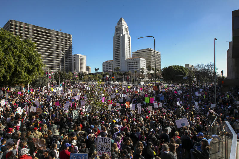 Women's March, Grand Park, January 2017. (Irfan Khan / Los Angeles Times)