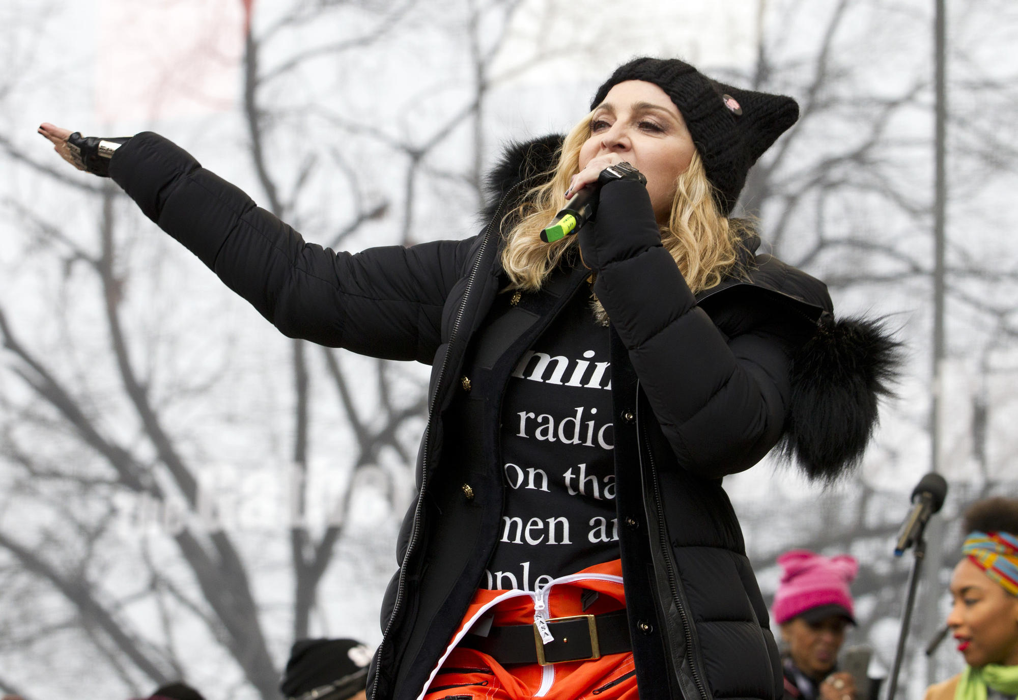 While Fox News on Saturday downplayed scenes of marches happening around the world, it did show Madonna's performance at the Women's March on Washington. (Jose Luis Magana / AP)