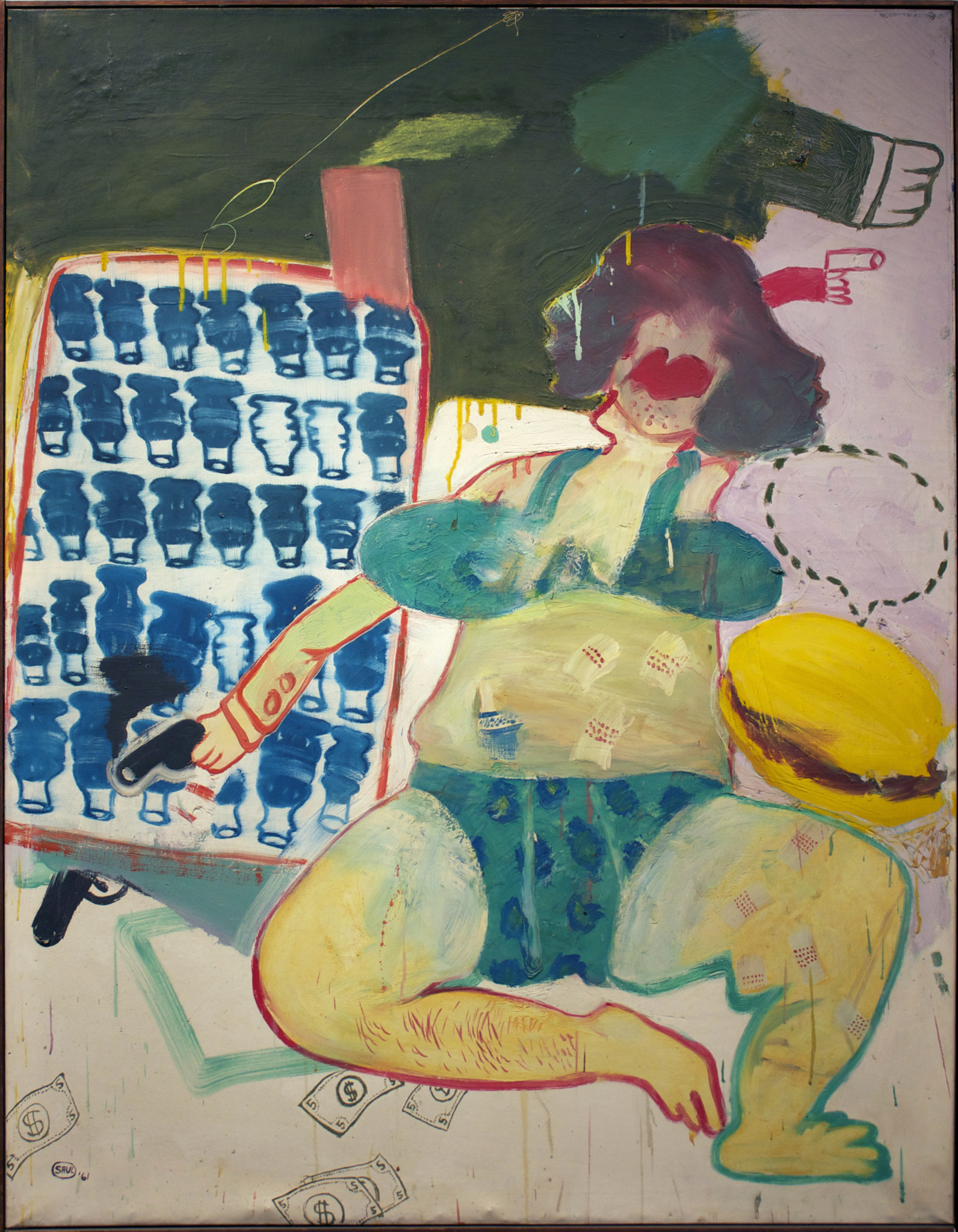 "Peter Saul, ""Gun Moll,"" 1961, oil on canvas"