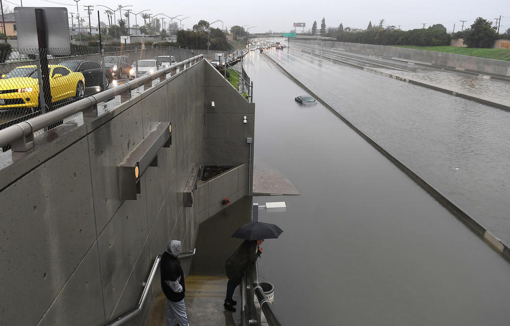 The 110 Freeway near the Carson Street exit on Sunday afternoon. (Christina House / For The Times)