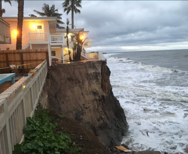 The collapsed cliff was reported in the 6600 block of Del Playa Drive in Isla Vista. (Handout / Dave Zaniboni, Santa Barbara County Fire Department)