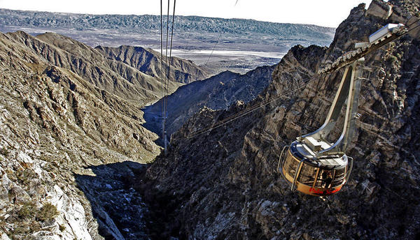 Take a 10-minute tram ride from desert heat to a snowy mountaintop