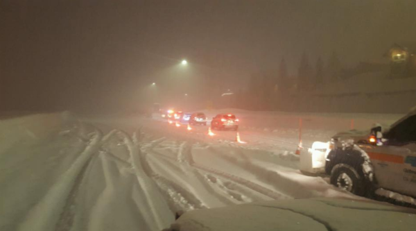 Westbound traffic on Interstate 80 was closed at the Nevada border, and eastbound lanes were closed in Colfax. (California Highway Patrol)