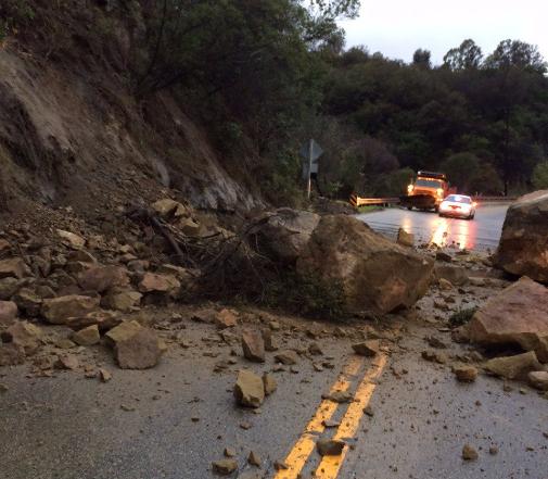 Rock Slides Shut Down Topanga Canyon Boulevard In Malibu
