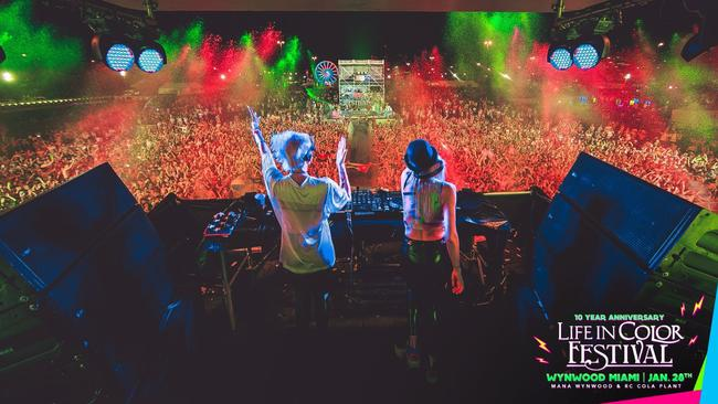 Nervo performed at Life in Color Miami in 2014.