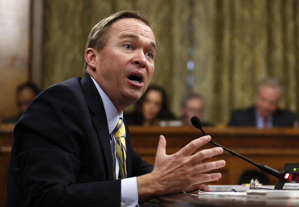 Rep. Mick Mulvaney (R-S.C), President Trump's nominee to run the White House budget office, speaks at his Senate confirmation hearing in Washington. (Carolyn Kaster / Associated Press)