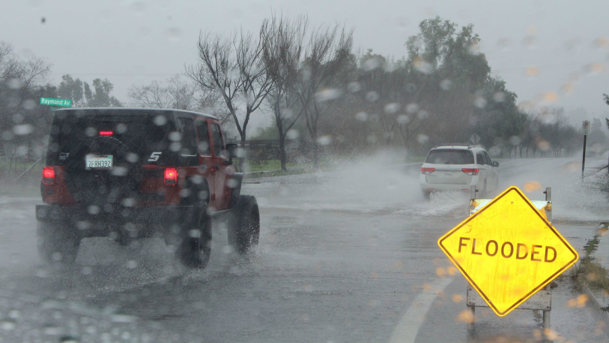 Ramona Street is among areas that experienced flooding during heavy rains Friday.