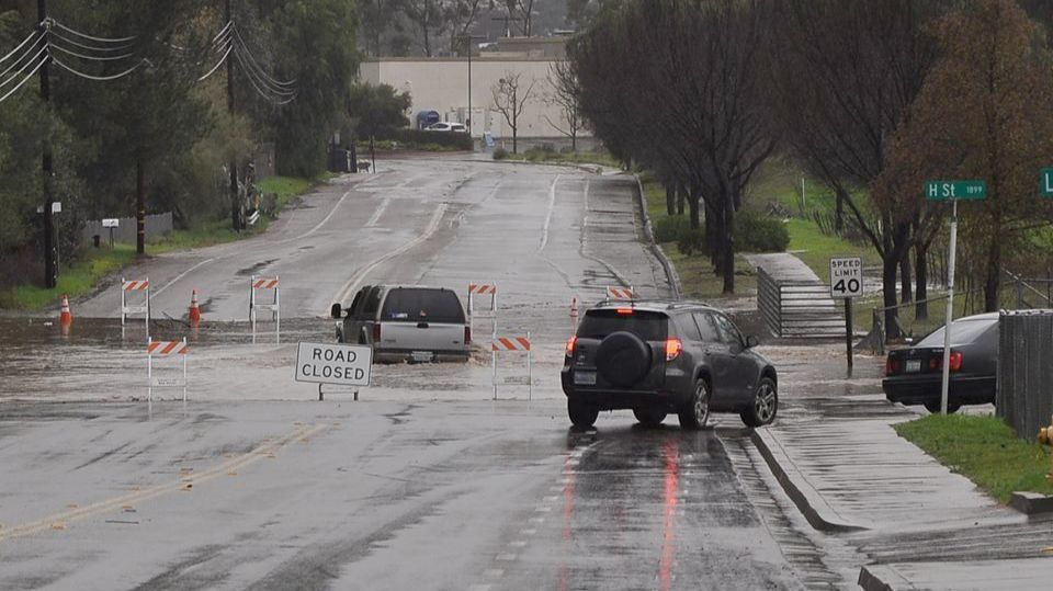 One driver ignores Road Closed sign on Ramona Street as others turn onto H Street Friday afternoon.