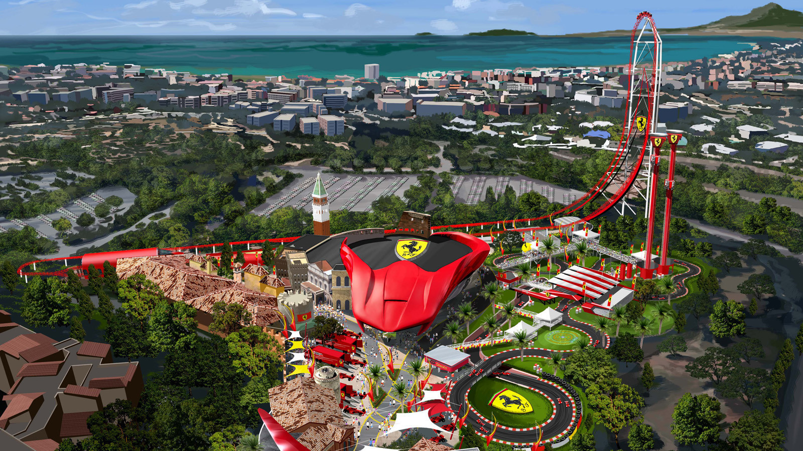 an economy-sized ferrari land theme park gets set to roar to life
