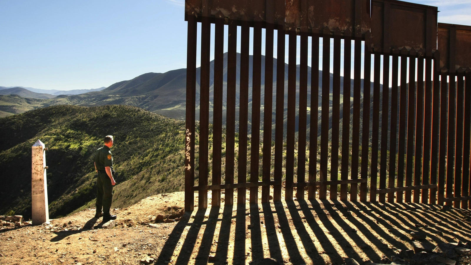 The border fence at the base of Otay Mountain in San Diego County. (Don Bartletti / Los Angeles Times)