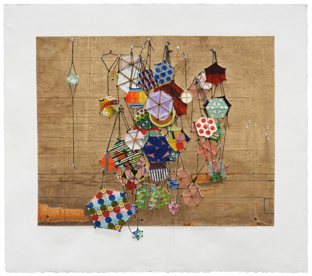 "Jacob Hashimoto's ""Tiny Rooms and Tender Promises,"" 2016. Mixografia print on handmade paper and archival pigment print with pushpins."