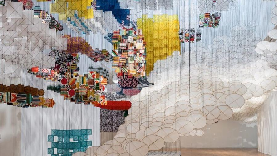 "Jacob Hashimoto's ""Gas Giant"" on view at the Museum of Contemporary Art's Pacific Design Center in 2014. His new prints are at Mixografia."