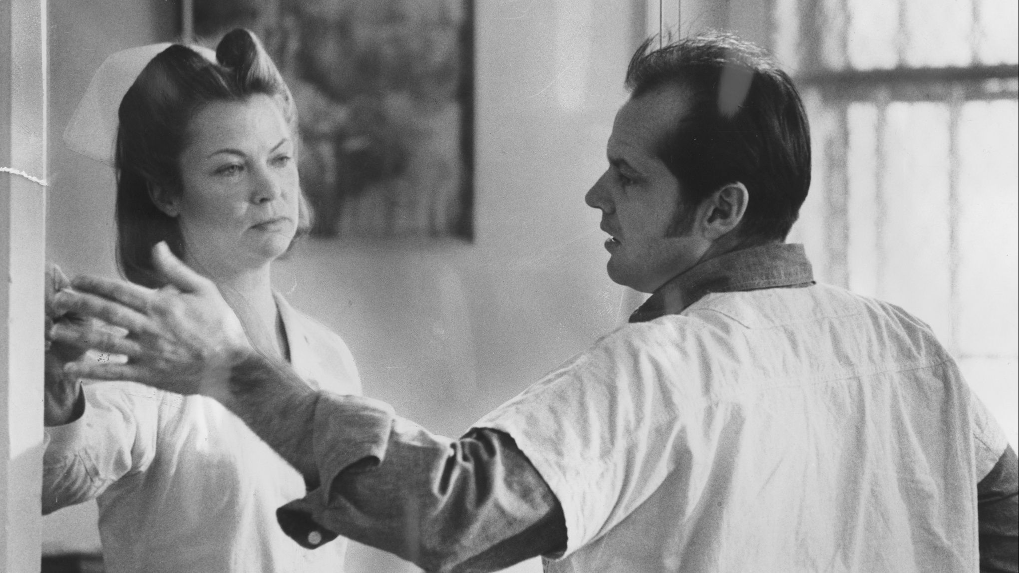 "Louise Fletcher and Jack Nicholson in the 1975 film ""One Flew Over the Cuckoo's Nest."" (Fantasy Films)"