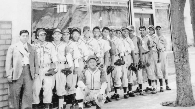 "The 1949 Ornelas Food Market baseball team, from ""Mexican American Baseball in East Los Angeles."""
