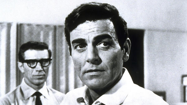 """Mannix,"" starring actor Mike Connors as L.A.-based private detective Joe Mannix, foreground, with co-star Joseph Campanella as Lou Wickersham. (CBS)"