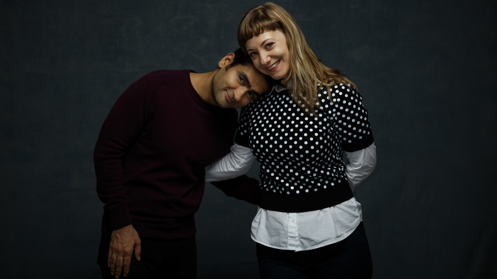 "Kumail Nanjiani and Emily Gordon, husband and wife co-writers of film ""The Big Sick,"" at the Sundance Film Festival in Park City, Utah, on Jan. 20, 2017. (Jay L. Clendenin / Los Angeles Times)"