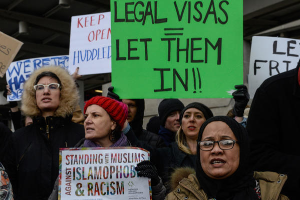 President Trump's sweeping executive order to suspend refugee arrivals and impose tough controls on travelers from seven predominantly Muslim countries was met with protests at U.S. airports. (Tribune News Service)