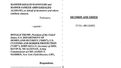 Read the judge's order blocking deportations for refugees and others with valid visas